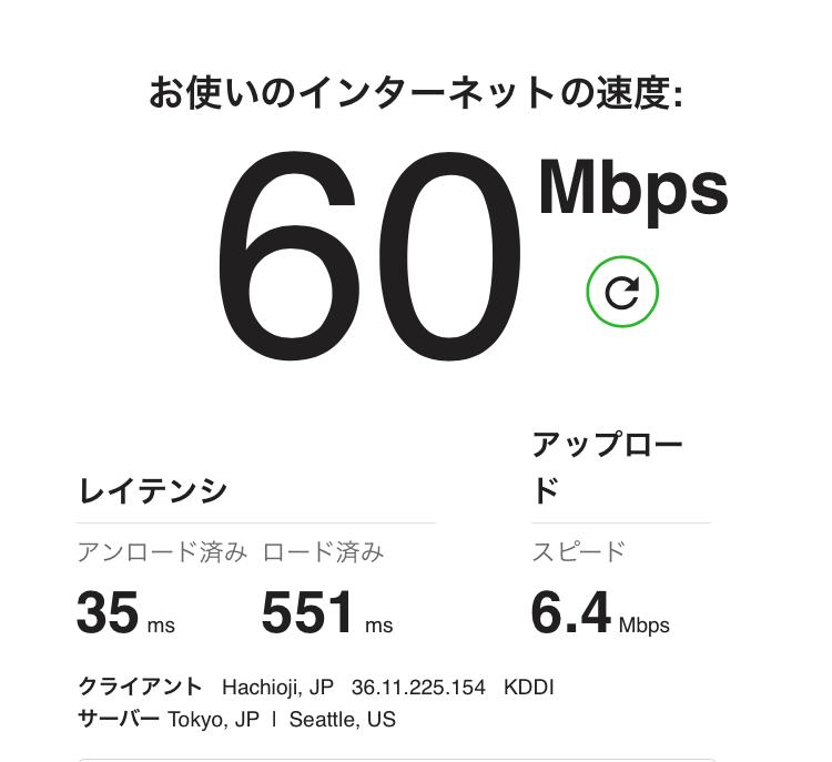 UQモバイル速度テスト